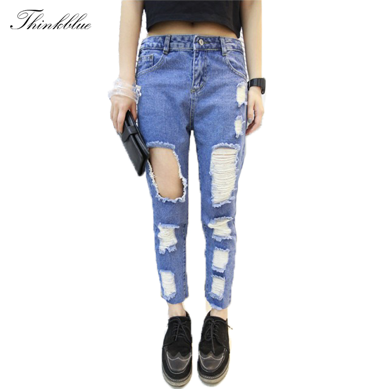Retail Brand New Jeans 2014 Fashion Big Hole Destroyed Ripped Jeans Woman Loose Boyfriend Jeans Stylish Denim Pants Women JeansОдежда и ак�е��уары<br><br><br>Aliexpress