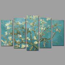5pcs/set Almond Blossom Van Gogh white flowers picture decoration Canvas Painting wall Art for living room oil print unframed
