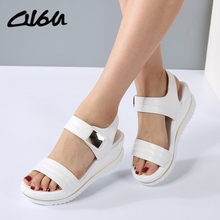 O16U Summer Women Sandals platform heel Leather hook loop metal Soft comfortable Wedge shoes ladies casual sandals white blue(China)