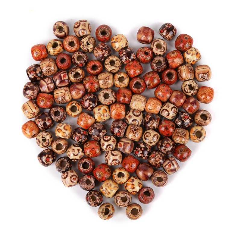 Lots 100Pcs Mixed Wood Round Spacer Loose Beads Charm Jewelry Making Craft 10MM