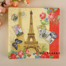 JJ43,100% Food Grade Paris Tower Red Lace Style Pattern Paper Napkins & Serviettes for Dinner Party Decoration