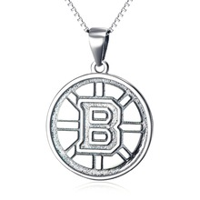 YFN Fine 925 Sterling Silver NHL Hockey Boston Bruins  Logo Pendant Round Necklace Sports  Jewelry Gifts Unisex