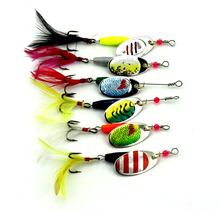 Buy 6Pcs / Lot 6cm 7g Hard Fishing Lures Sequin Paillette Baits Feather Treble Hook Lure Set Fishing Tackle Spoon Spinner baits for $4.23 in AliExpress store