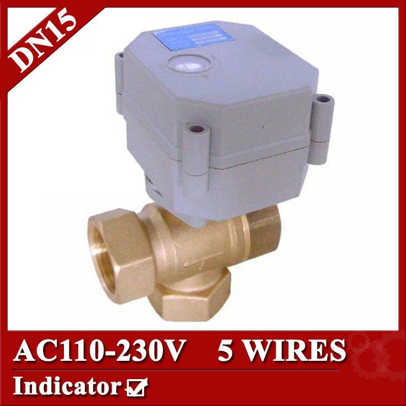 1/2 3 way T type Electric valve,AC110-230V DN15 Mini Motorized valve 5 Wires (CR5 02),signal feedback &amp; normal close/open<br>