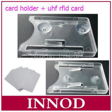 iso18000-6c uhf passive rfid vehicle glass tag card 1-15meters long range epc gen2 rfid Windshield card with card holder