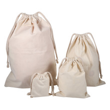 Household Plain Cotton Drawstring Storage Laundry Sack Stuff Bag for Travel Home Use  new