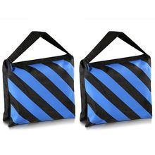 Top Deals Set of Two Black/Blue Heavy Duty Sand Bag Photography Studio Video Stage Film Sandbag for Light Stands Boom Arms Tri(China)