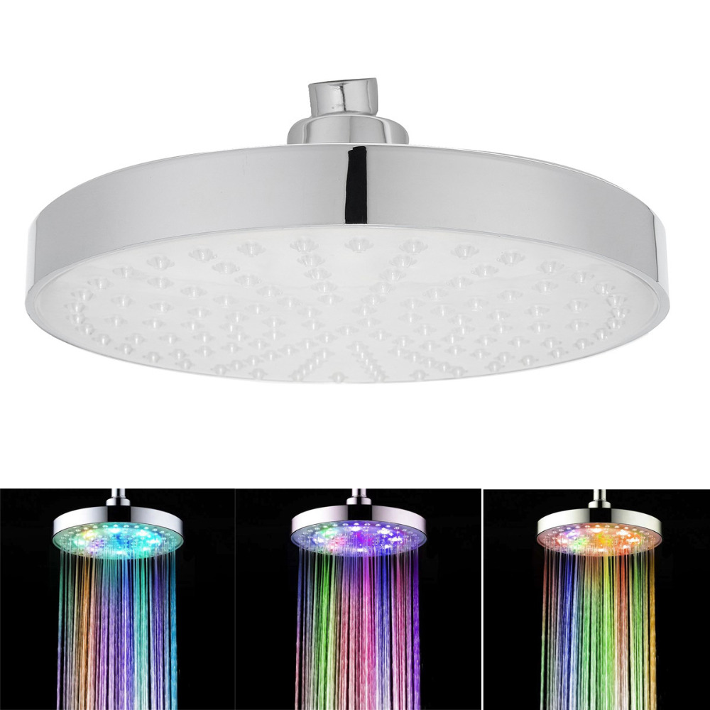 8 Inch 7 Multicolor Automatic Changing Round Top LED Light Shower Head Bathroom Sprinkler<br>
