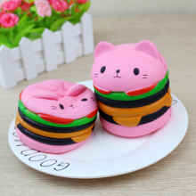 10CM Kawaii Squishy Jumbo Yummy Hamburger Cat Cake Squeeze Slow Rising Stretchy Phone Charm Pendant Bread Kid Toy Home Decor P15