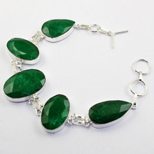 Emeralds  Bracelet   Silver Overlay over Copper ,23.8cm, B1475