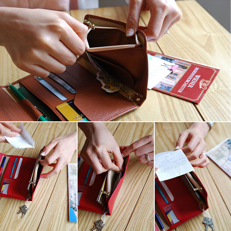 Reispaspoort Cover Opvouwbare Creditcardhouder Geld Portemonnee ID Multifunctionele Documenten Vlucht Bit Licentie Portemonnee Tas PC0045 (12)
