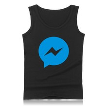 Hot Sale Funny Facebook Logo Shirt Mens Sleeveless pattern printed Shirts Tank Top Cotton Bodybuilding Vests Plus Size 4XL