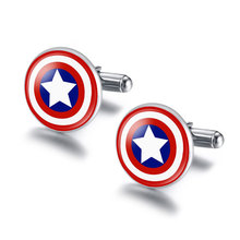 NingXiang Super Hero Captain America Spider Man Iron Man Bat Man Glass Cabochon Cuff Links for Mens Shirt Copper Cuff-Button