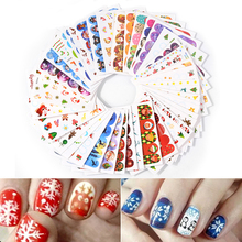 45 Sheets XMAS Nail Art Water Transfer Sticker Full Cover Decals Merry Christmas Snowman Stickers Wrap Tip Decoration