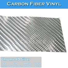 CARLIKE Free Shipping Chrome Silver 4D Carbon Fiber Wrapping Film(China)