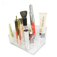 Hot Selling Clear Lipstick Holder Trapezoid  24 Grid Acrylic Cosmetic Organizer Makeup Storage Display Shelf Case 14.5*9.5*7cm