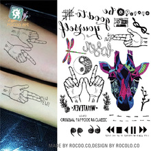 LC-872/2016 Latest Body Temporary Art Tattoo Stickers Spring Giraffe Dragonfly Long Lasting Fake Tattoo for Men Women