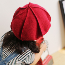 Kid Artist Beret Cap,French Style Autumn&Winter Vintage Solid Colors 100% Felt Wool Beanie Hat, Girls Fashion Classic Berets(China)