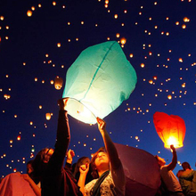 100pcs/lot White Paper Chinese Lanterns Fire Sky Flying Paper Candle Wish Lamp for Birthday Wish Party Wedding Decoration