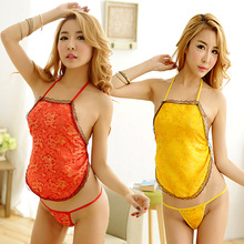 Gold Yellow Red Apron Stomachers Little Dragon Top Bra dress Teddy Stripper Clubwear Set Costume Sexy babydoll 9208(China)
