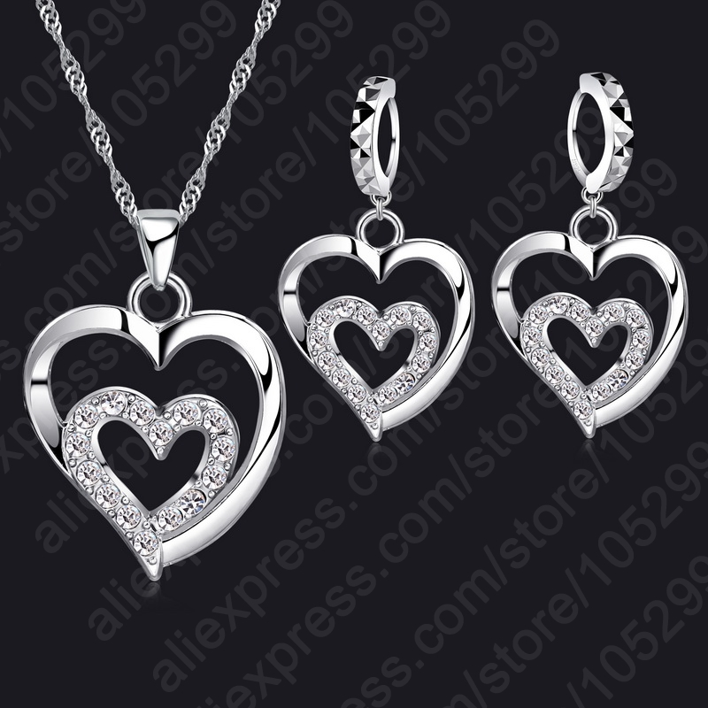 JEXXI-Fashion-Women-Jewelry-Sets-925-Sterling-Silver-Zircon-CZ-Crystal-Double-Love-Heart-Necklace-Earrings (3)