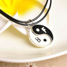 WLP 2Pcs women Pendant Necklaces Eight Diagrams Yin Yang Black and White Best Friends friendship Couples Lover Valentine Gift