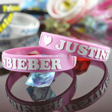 300pcs 3D LOGO pink Justin Bieber wristband silicone bracelets free shipping by DHL express