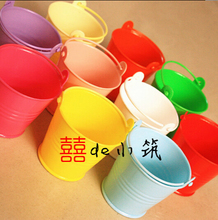 Free shipping 50pcs/lot Wedding Favor box Colorful beach pail which made of PP plastic used as candy packing(China)