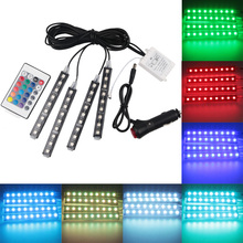 4pcs Exlight Multi-Color LED Interior Lighting Kit Atmosphere Light Car Auto Interior Decoration Light with Remote Control
