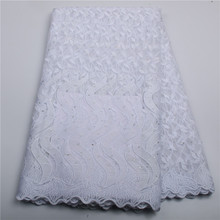 Wholesale nigerian lace fabrics 2016 white embroidered lace trim african french tulle net lace fabric for wedding dress AMY131B