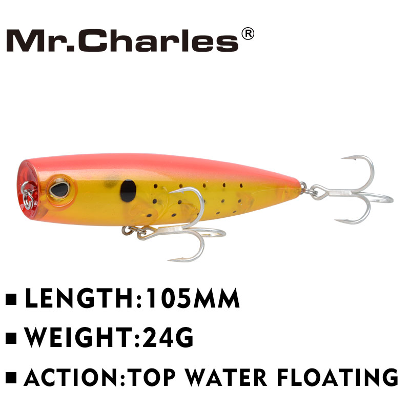 Mr.Charles CMC026  fishing lures2015  fishing lures, assorted colors, popper 105mm 24g, Floating,topwater<br><br>Aliexpress