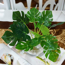 3Pcs Artificial greenery Monstera palm tree Leaves leaf wedding party DIY decoration cheap small fake Flowers arrangement plant