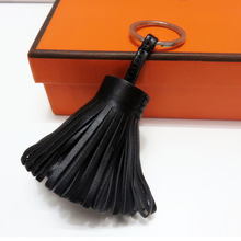 Personalized Handmade Real Leather Tassel Keychain Metal Keyring Women Bag Charm Accessory Handbag Key Chain Car Pendant Gift(China)