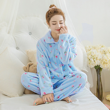 Warm Women Pajama Sleepwear Homewear Set Big Size XXL Pajamas Coral Fleece Women Sleepwear Sweet Flannel Pajama Nighties 255