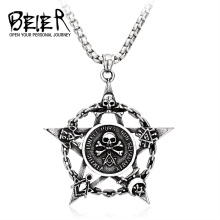 BEIER Free Shipping 2017 Virtus Junxit Mors Non Separabit New Pendants 316L Stainless Steel Unique Skull Pendant For Man BP8-101