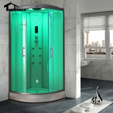 Free shipping 90cm White with Steam Shower massage Corner Cabin room Cabin hydro cubicle Enclosure glass walking-in saunaD09