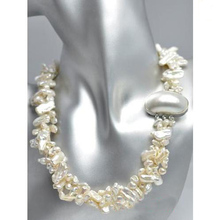Wholesale 19'' Royal Queen White Keshi Biwa Freshwater Pearl Necklace Wrap Strand 4-12mm Pearl Jewelry New Free Shipping