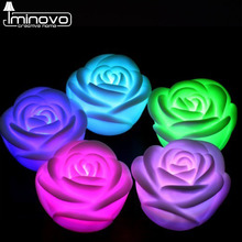 IMINOVO Romantic Rose Shape LED Colorful Flower Night Light Color Changing Novelty Gift  Home Bedroom Decoration for Girl Party