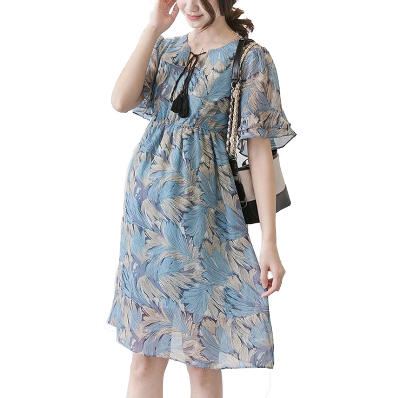 0f9aeaba3e40 Summer dress for pregnant women ruffled sleeve chiffon loose pregnant dress  Vestido de embarazada elegant maternity dresses 2018