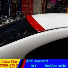 use for honda 2006-2015 model civic roof spoiler High Quality ABS Material Car Rear Wing Primer Color spoiler civic roof spoiler