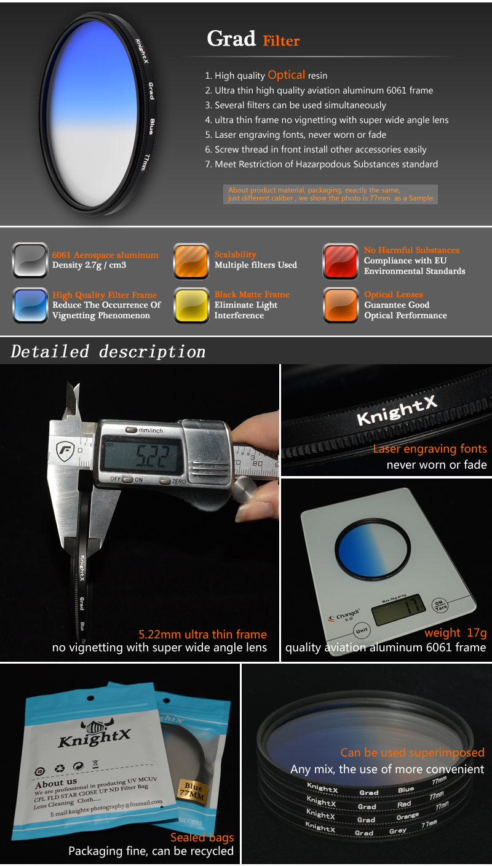 KnightX 52mm 58MM 67MM Graduated Color ND CPL UV Lens Filter Kit for Nikon canon D5100 D3300 D5300 D50 D3100 D30 SLR Camera 6