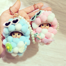 Cute Pearl Monkiki doll Key Chains Monchhichi Fur Ball Pompons Pom Pom Porte Clef KeyRing Holder Keychain Car Pendant Accessorie(China)