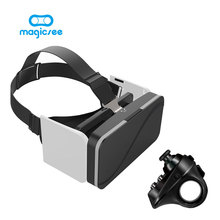 New Foldable Virtual Reality 3D Glasses Google Cardboard HeadMount VR For Android IOS 4.7-6.0 inch Smartphone+Remote control(China)