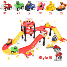 Parking Tracks Toy Cars Cartoon Patrol Dogs Parking Lot Model Car Game Educational Toys For Children No Glow Tracks Racing Set(China)