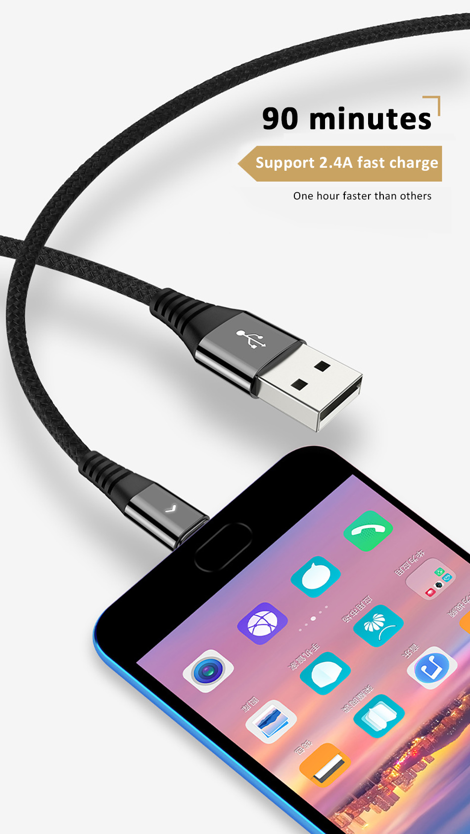 NOHON Led USB Type C Charge Sync Data Line For SamSung Gaxaly S8 Plus 2.4A Fast Charging For Xiaomi Mi5 Phone Charger Cable 1 (3)