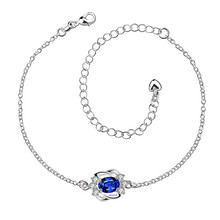 Fashion Silver Ankle Leg Bracelet Female Charm Chain 4 Color Crystal Glass Anklet Ankle Bracelets For Women Summer Beach Gift(China)