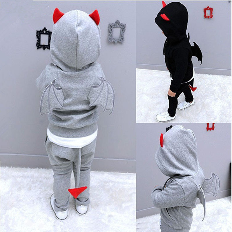 Boys Clothing Set Demon Plays Baby Childrens Clothes With Wings&amp;Tail 2017 Spring Hooded Tops+Pants Kids Tracksuits<br><br>Aliexpress