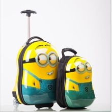 "2PCS/ Set hot Minions child School bag Tourism luggage suitcase cartoon 17"" kids travel trolley case Boarding box children gift"