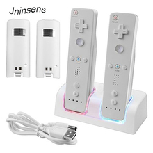 Remote Controller Dual Charging Dock Station+2X 2800mAh Battery Pack With for Wii Blue LED Light for Nintendo White Color(China)