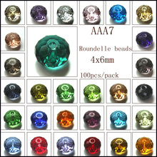 Free shipping China top AAA quality 5040 crystal beads 4*6MM glass beads crystal rondelles beads 100pcs/lot(China)